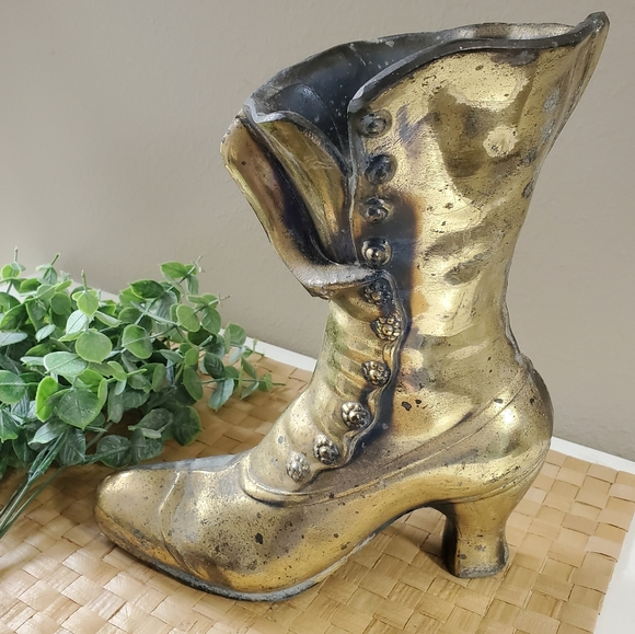 Vtg victorian brass boot heavy bookend vase